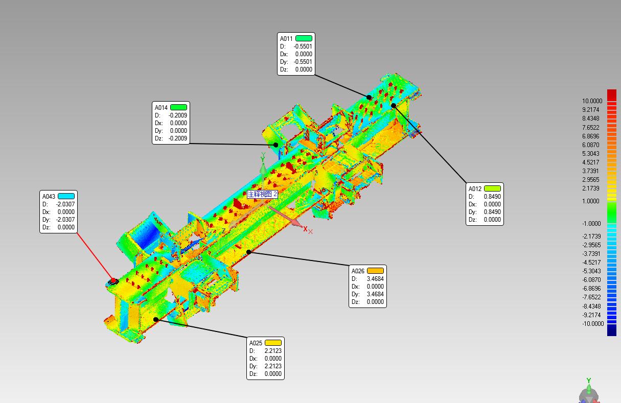 鋼結構檢測三維真彩色點雲數據,鋼結構檢測毫米級測量精度,鋼結構檢測色譜圖展示