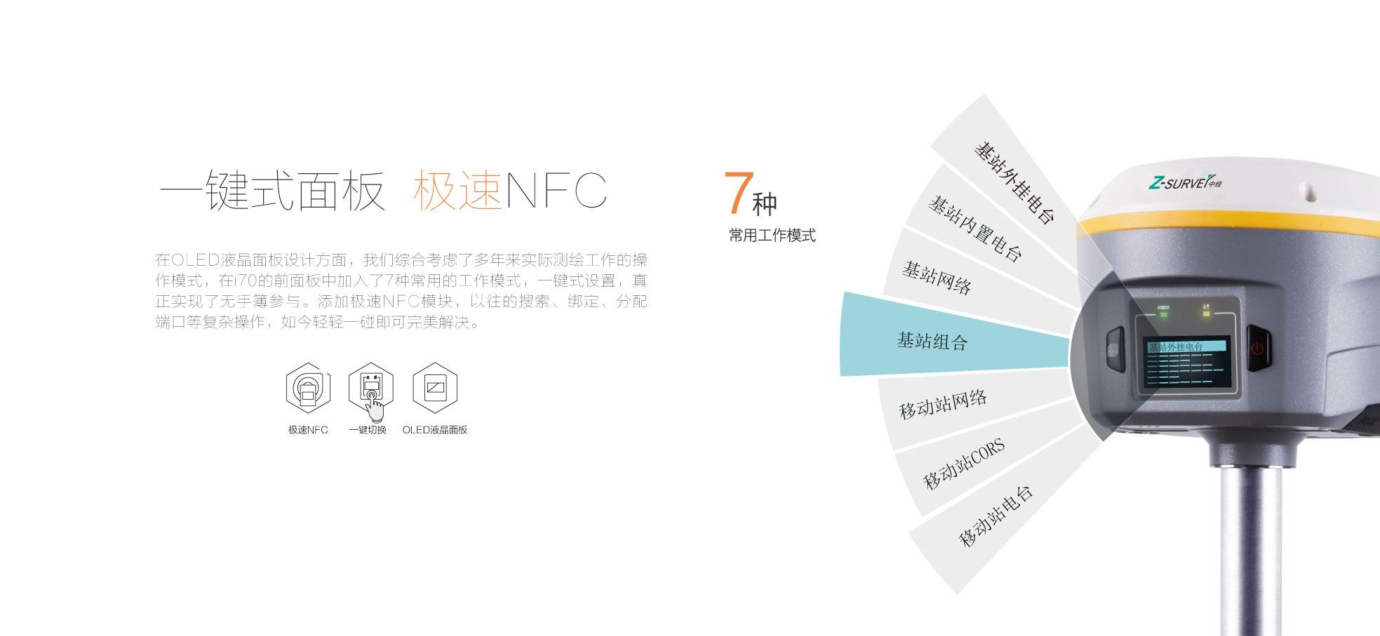 華測i系列i70RTK液晶面闆,極速NFC,華測導航