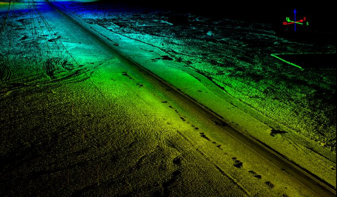 激光雷達系統應用于公路勘測的點雲成果展示圖,華測公路勘測應用方案分享