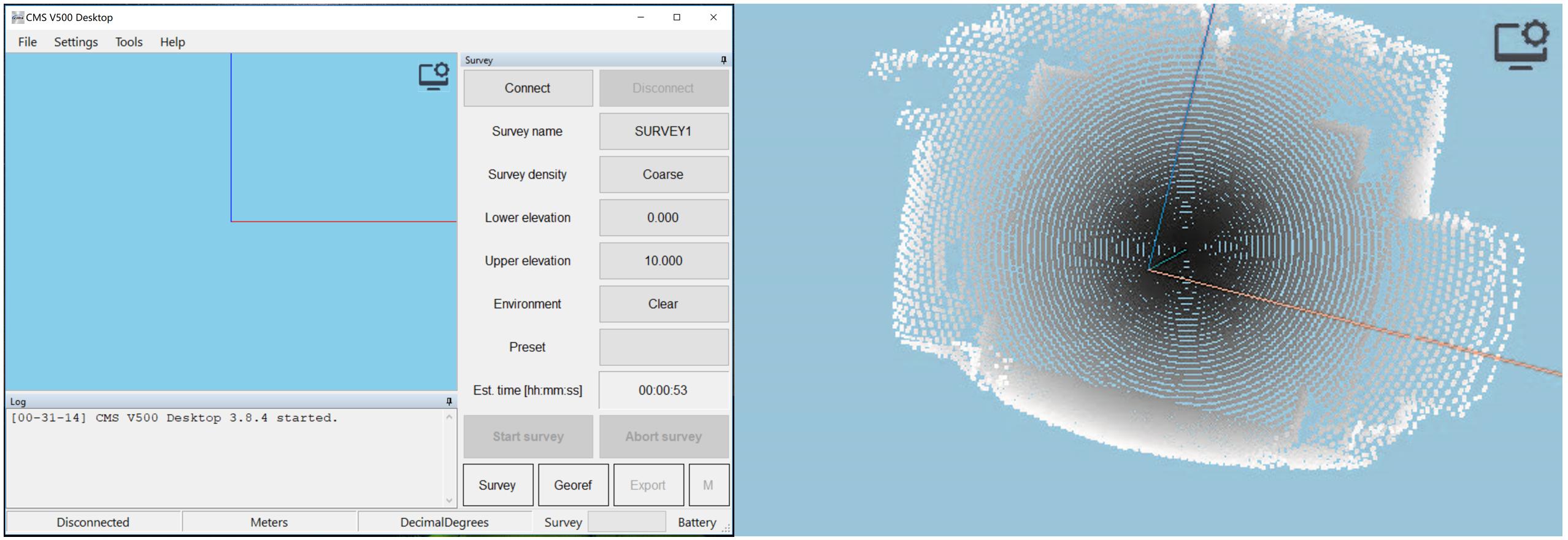 華測CMS空區三維掃描系統應用于采空區的勘測,CMS空區三維掃描系統的軟件界面展示圖