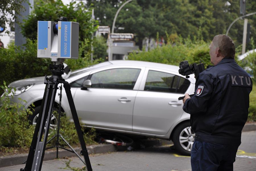 三維激光掃描儀在刑偵或事故現場勘察中的應用,三維激光掃描儀應用與交通事故現場的流程展示圖