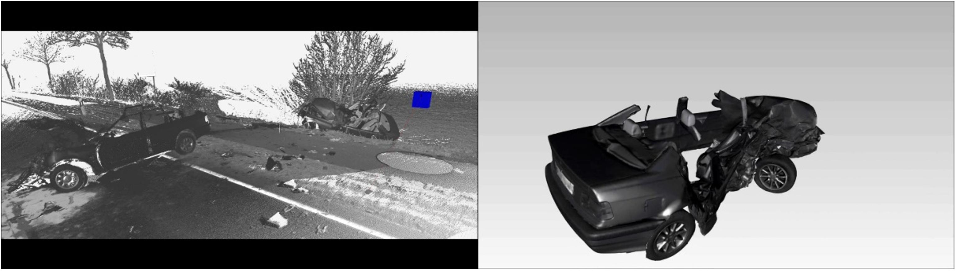 三維激光掃描儀在刑偵或事故現場勘察中的應用,三維掃描儀應用于刑偵事件的車輛提取展示圖