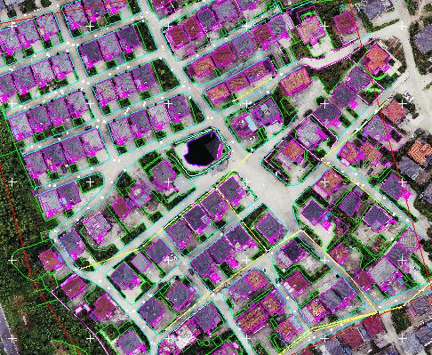 華測無人機1:500地籍測量解決方案,地籍測量數據後處理線劃圖和正射影像套和顯示,地籍測量方案數據後處理成果展示圖